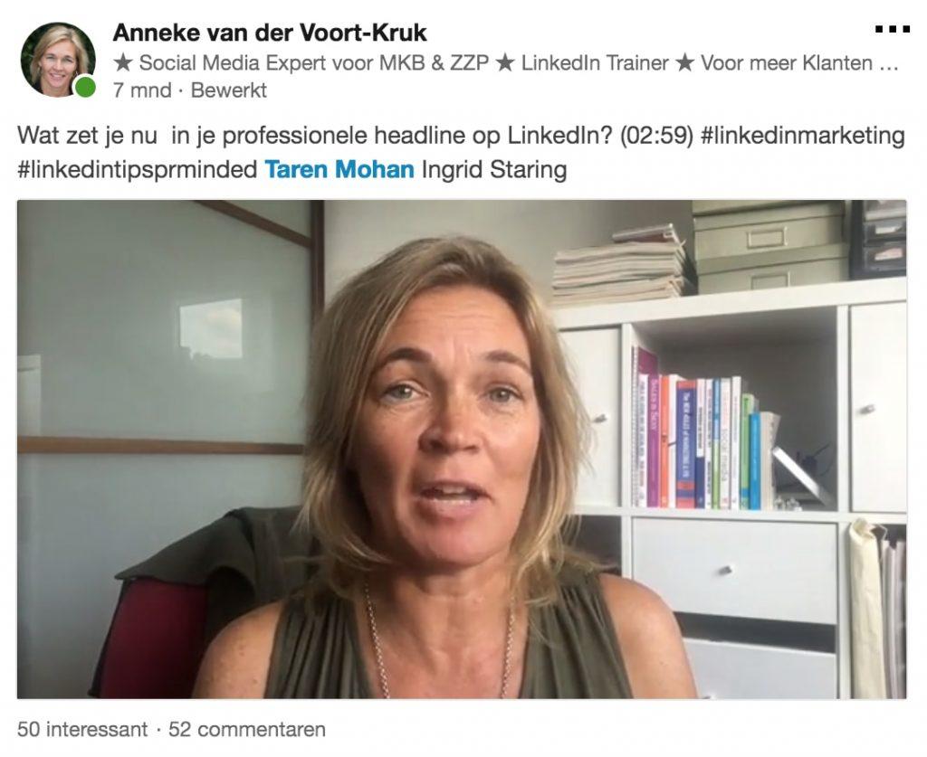Gebruik video om mensen aan je te binden - afbeelding van LinkedIn video | Anneke van der Voort-Kruk, PRminded | Adviseur Social Media Plan en Strategie | LinkedIn trainer | voor ZZP en MKB | Bavel, Breda, Tilburg