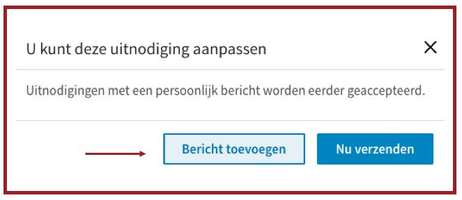 Screenshot van de tekst die je krijgt als je iemand uitnodigt op LinkedIn. | Anneke van der Voort-Kruk, PRminded | Adviseur Social Media Plan en Strategie | LinkedIn trainer | voor ZZP en MKB | Bavel, Breda, Tilburg