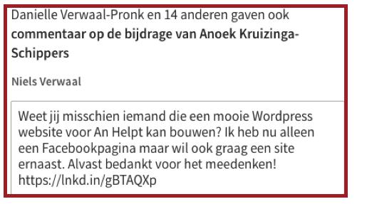 Durf te vragen - voorbeeld van vraag op LinkedIn   Anneke van der Voort-Kruk, PRminded   Adviseur Social Media Plan en Strategie   LinkedIn trainer   voor ZZP en MKB   Bavel, Breda, Tilburg