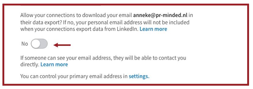 Screeshot die laat zien dat LinkedIn het niet meer standaard mogelijk maakt om je emailadres te laten downloaden. | Anneke van der Voort-Kruk, PRminded | Adviseur Social Media Plan en Strategie | LinkedIn trainer | voor ZZP en MKB | Bavel, Breda, Tilburg