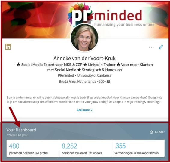 Je dashboard checken is ook onderdeel van je LinkedIn marketing routine. Screenshot dashboard LinkedIn | Anneke van der Voort-Kruk, PRminded | Adviseur Social Media Plan & Strategie | LinkedIn trainer | voor MKB en ZZP | Bavel, Breda, Tilburg