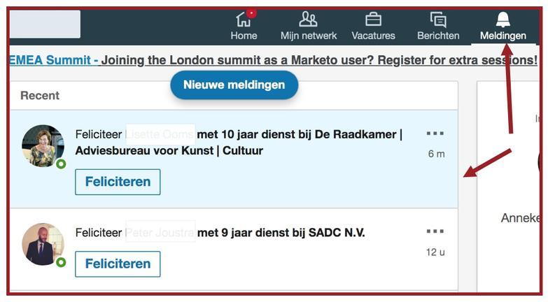 LinkedIn marketing routine betekent ook reageren op berichten van anderen. Screenshot van meldingen in het LinkedIn menu | Anneke van der Voort-Kruk, PRminded | Adviseur Social Media Plan & Strategie | LinkedIn trainer | voor MKB en ZZP | Bavel, Breda, Tilburg