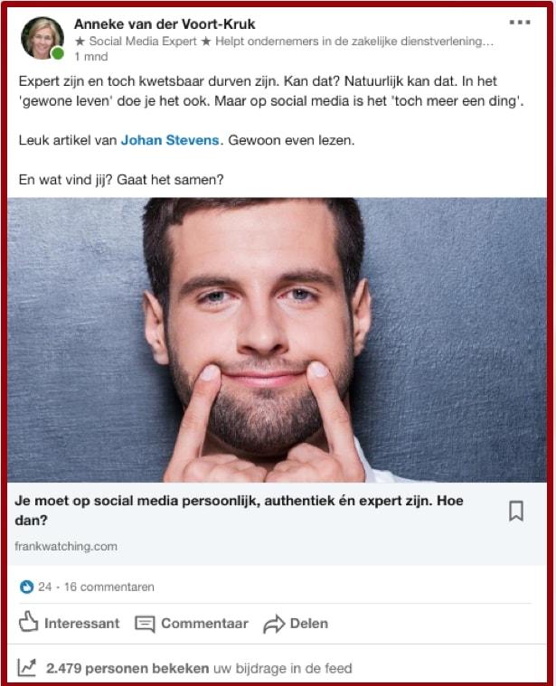 Artikelen van anderen delen is ook een belangrijk onderdeel van je LinkedIn marketing routine. Screenshot van een artikel van Frankwatching dat ik onlangs deelde op mijn tijdslijn |  Anneke van der Voort-Kruk, PRminded | Adviseur Social Media Plan & Strategie | LinkedIn trainer | voor MKB en ZZP | Bavel, Breda, Tilburg