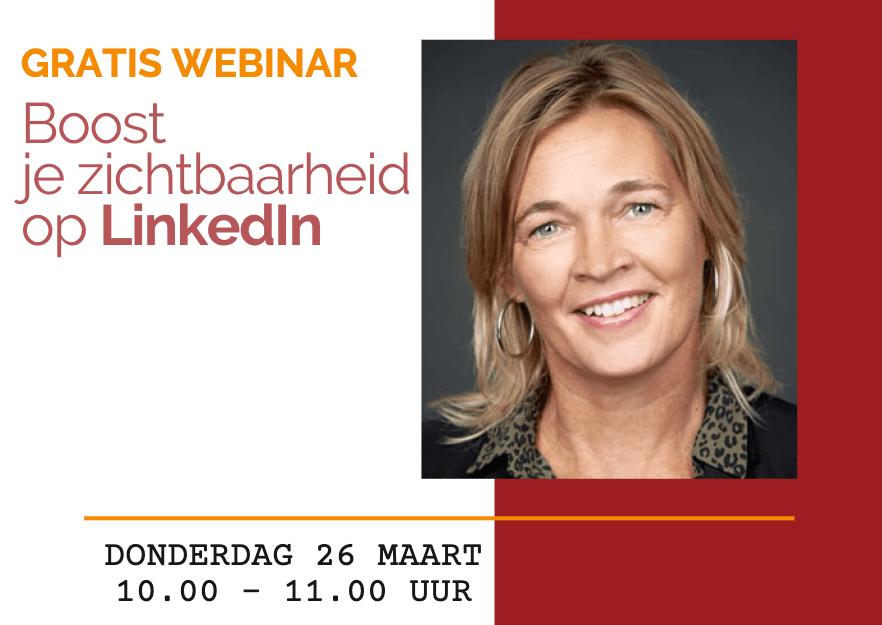 Aankondiging webinar Boost je Zichtbaarheid op LinkedIn | PRminded, Anneke van der Voort | LinkedIn trainer & personal branding op LinkedIn | Bavel, Breda, Tilburg