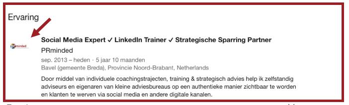Screenshot die laat zien dat je logo verschijnt als je linkt naar een bedrijfspagina op LinkedIn. | Anneke van der Voort-Kruk, PRminded | Adviseur Social Media Strategie & LinkedIn trainer | Bavel, Breda, Tilburg