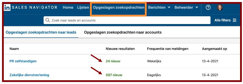Screenshot LinkedIn Sales Navigator in blog wel of geen betaald LinkedIn account | LinkedIn expert, personal branding op LinkedIn | LinkedIn trainer | Bavel, Breda, Tilburg. PRminded, Anneke van der Voort