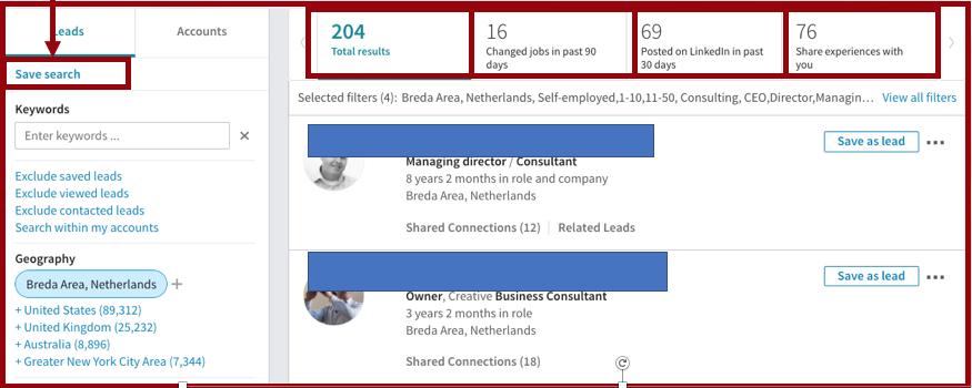 Resultaat zoekopdracht binnen Sales Navigator | PRminded, LinkedIn trainer in Bavel, Breda en Tilburg | personal branding coach voor MKB en ZZP