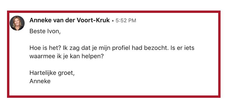 screenshot voorbeeld bericht LinkedIn | PRminded LinkedIn trainer Bavel, Breda, Tilburg | personal branding coach voor ZZP & MKB