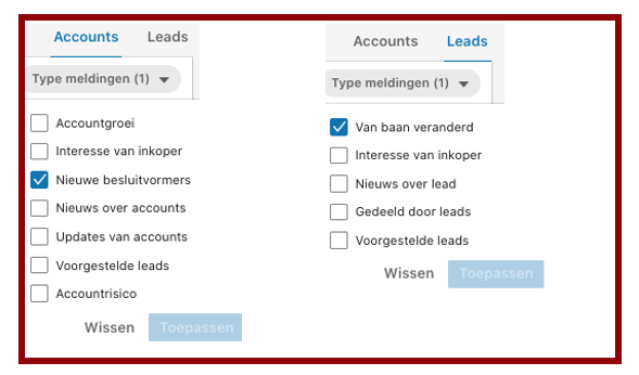 Screenshot type meldingen in LinkedIn Sales Navigator in blog wel of geen betaald LinkedIn account | LinkedIn expert, personal branding op LinkedIn | LinkedIn trainer | Bavel, Breda, Tilburg. PRminded, Anneke van der Voort