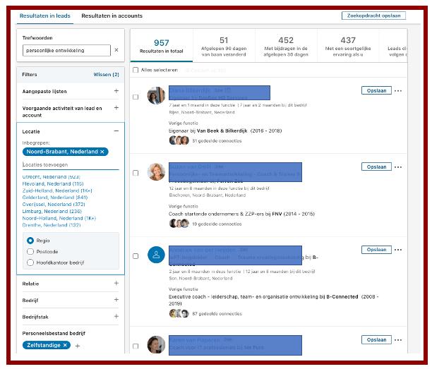 Screenshot zoekresultaat in LinkedIn Sales Navigator in blog wel of geen betaald LinkedIn account | LinkedIn expert, personal branding op LinkedIn | LinkedIn trainer | Bavel, Breda, Tilburg. PRminded, Anneke van der Voort