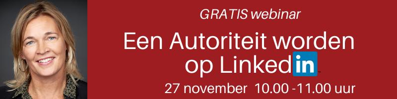 Aankondiging webinar 27 november PRminded, LinkedIn trainer in Bavel, Breda en Tilburg | personal branding coach voor MKB en ZZP