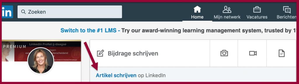 Screenshot blogfunctie LinkedIn | PRminded | LinkedIn trainer & personal branding coach Bavel, Breda & Tilburg