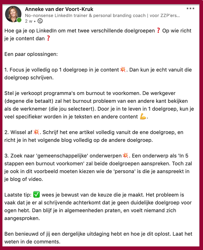 Voorbeeld miniblog LinkedIn | PRminded | LinkedIn trainer & personal branding coach Bavel, Breda, Tilburg