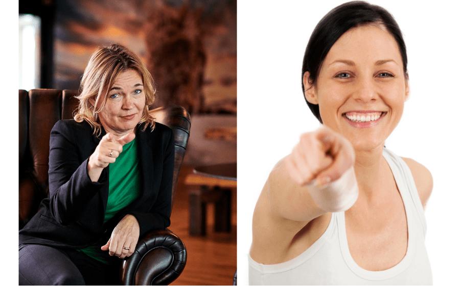 Stock vs real foto Anneke van der Voort PRminded - 2 foto's van mensen die naar camera wijzen