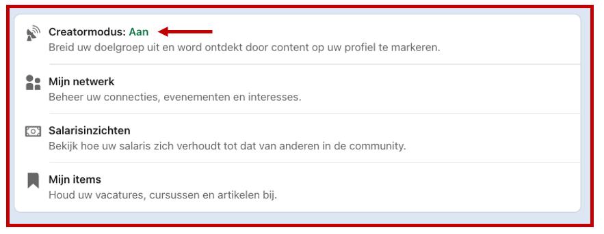 Screenshot creatormodus bij blog 'LinkedIn profiel verbeteren 10 praktische tips' Anneke van der Voort met klant aan tafel | LinkedIn expert voor ondernemers | personal branding op LinkedIn | LinkedIn training voor bedrijven | Bavel, Breda, Tilburg