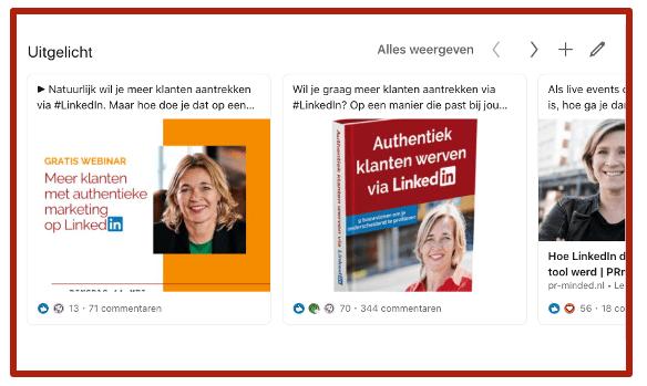 Screenshot Uitgelicht op je LinkedIn profiel | Anneke van der Voort bij blog 'LinkedIn profiel verbeteren 10 praktische tips| LinkedIn expert voor ondernemers | personal branding op LinkedIn | LinkedIn training voor bedrijven | Bavel, Breda, Tilburg