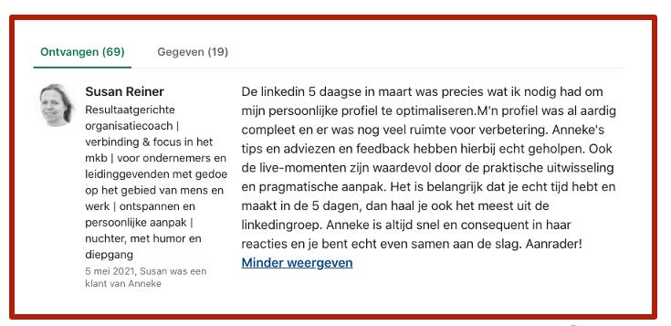 Screenshot met voorbeeld aanbeveling LinkedIn profiel bij blog L:inkedIn profiel verbeteren - 10 praktische tips| LinkedIn expert voor ondernemers | personal branding op LinkedIn | LinkedIn training voor bedrijven | Bavel, Breda, Tilburg
