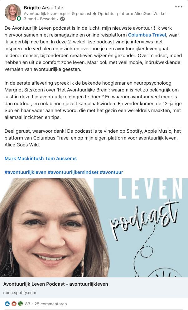 LinkedIn voorbeeld bericht van Brigitte Ars,in blog 4 voorbeelden van authenticiteit op LinkedIn | geschreven door Anneke van der Voort, PRminded | LinkedIn trainer, personal branding, Breda, Tilburg, Bavel