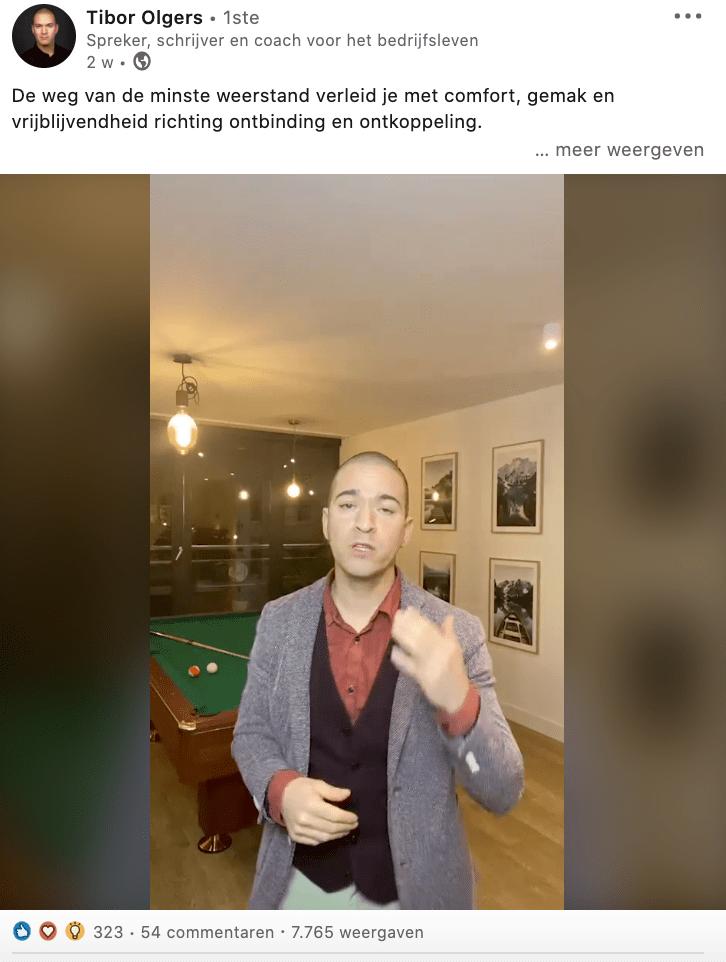 LinkedIn bericht van Tibor Olgers, in blog 4 voorbeelden van authenticiteit op LinkedIn | geschreven door Anneke van der Voort, PRminded | LinkedIn trainer, personal branding, Breda, Tilburg, Bavel